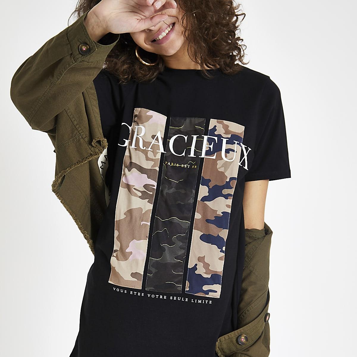 T-shirt imprimé camouflage «gracieux» noir