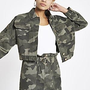 Veste fonctionnelle oversize à motif camouflage kaki