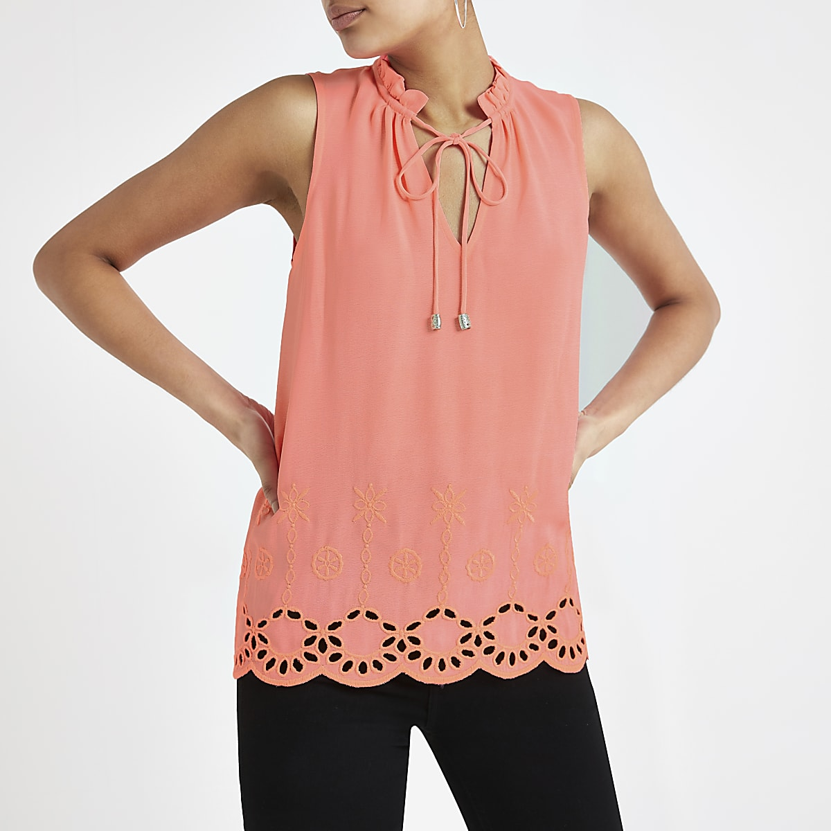Neon pink broiderie tank top