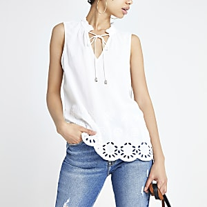 White embroidered tie neck tank top