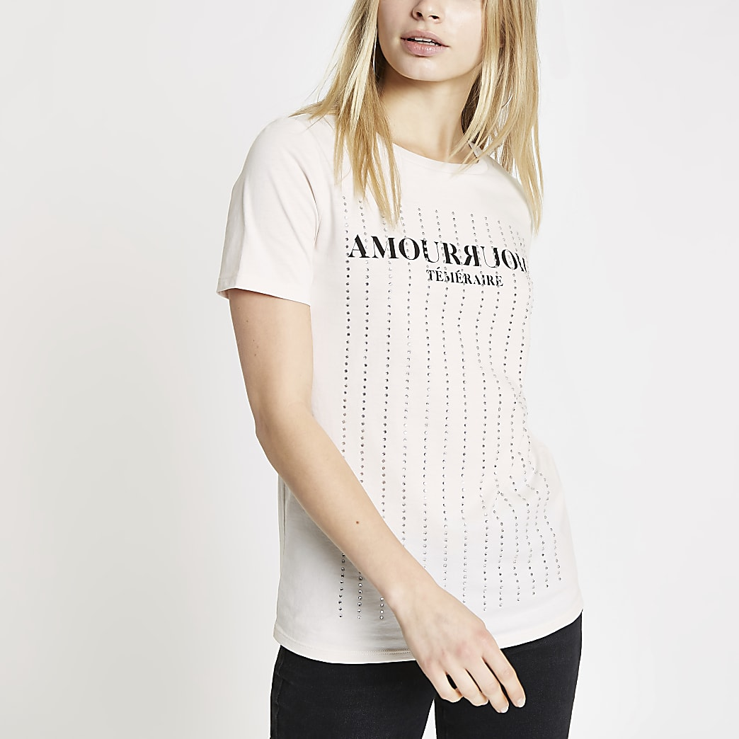 Cream diamante embellished T-shirt