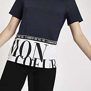 T-shirt imprimé «Mon coeur» à l'ourlet bleu marine