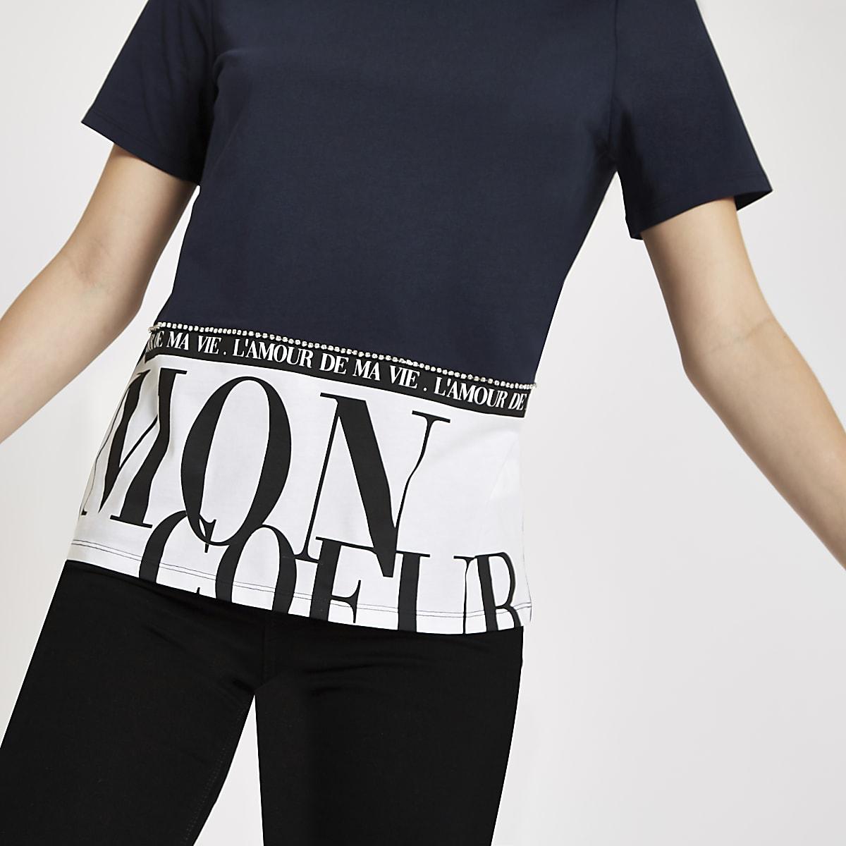 Navy 'Mon coeur' hem print T-shirt