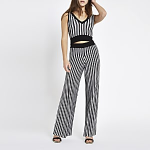 Petite black stripe metallic knit pants