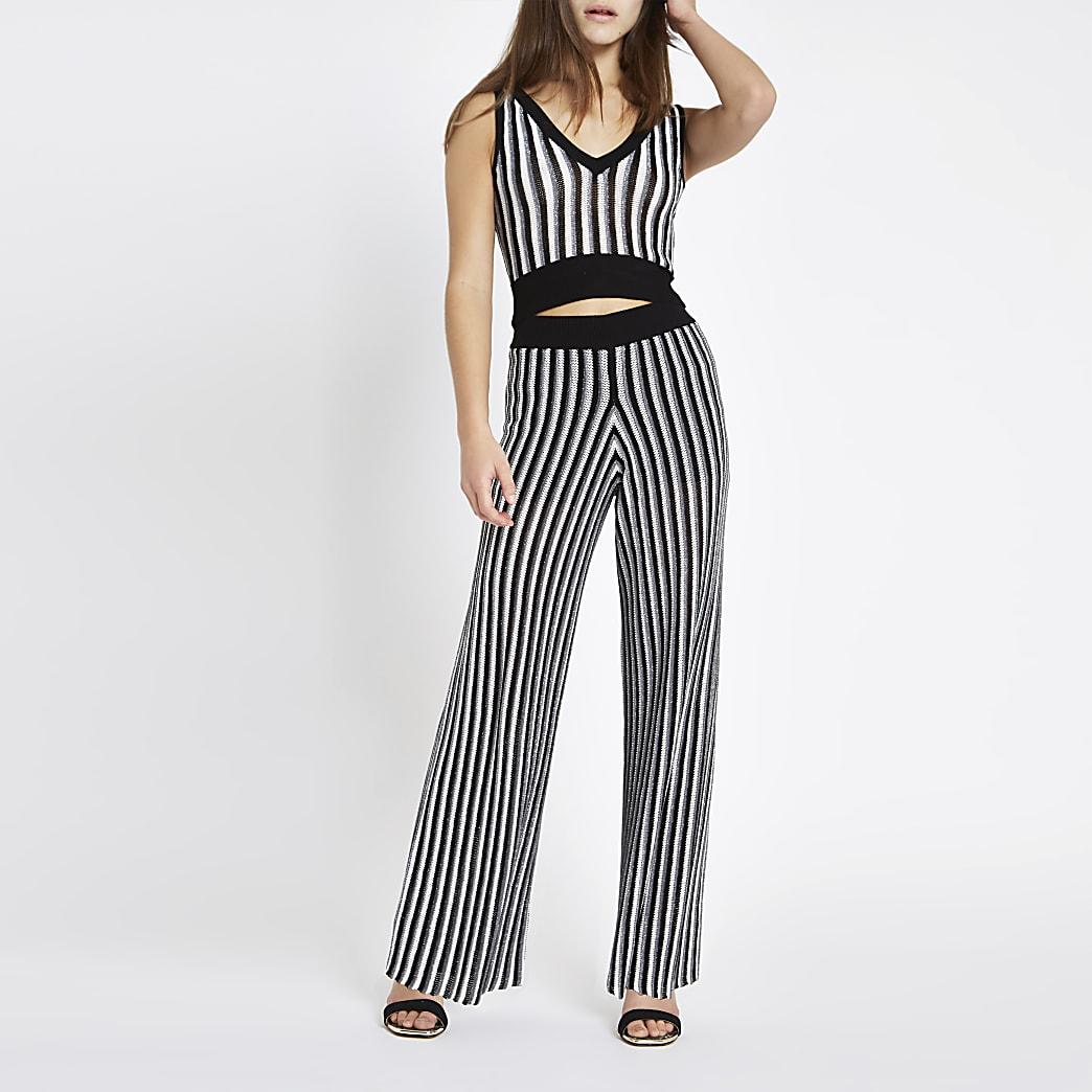 Petite black stripe metallic knit trousers