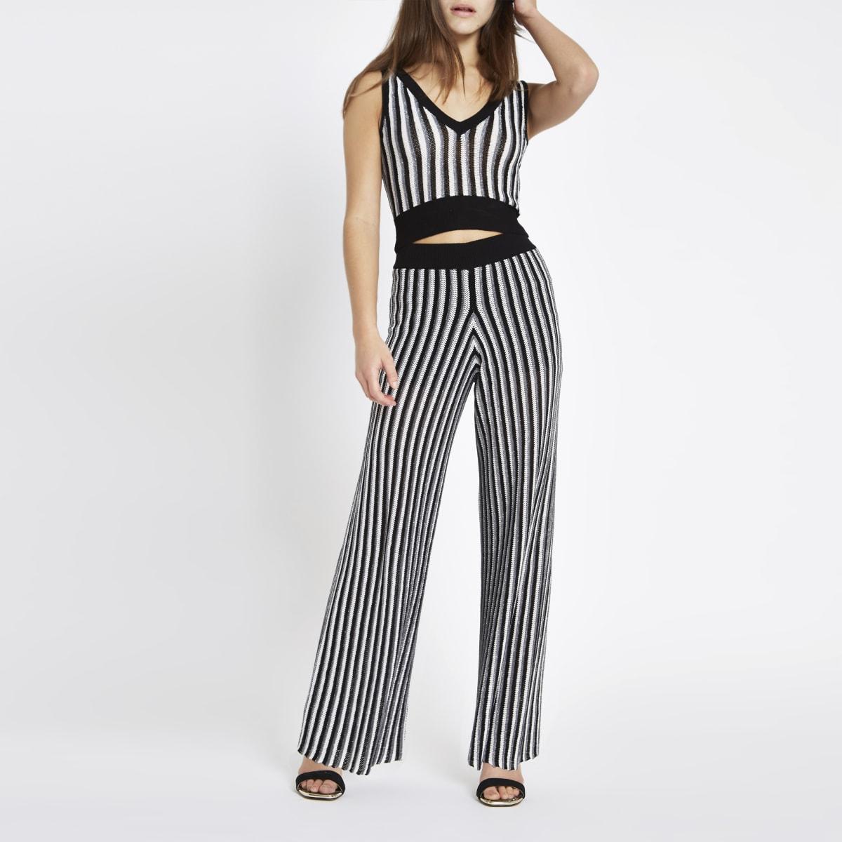 Petite – Pantalon en maille rayé noir métallisé