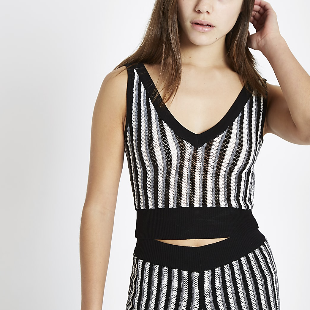 Petite black stripe metallic knit crop vest