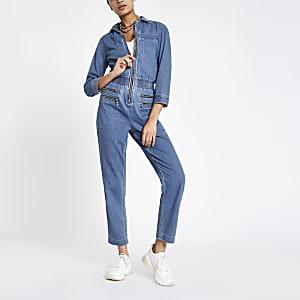 Mittelblauer Jeansoverall mit Reißverschluss