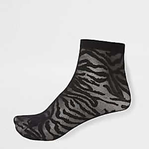 Black zebra print sheer socks
