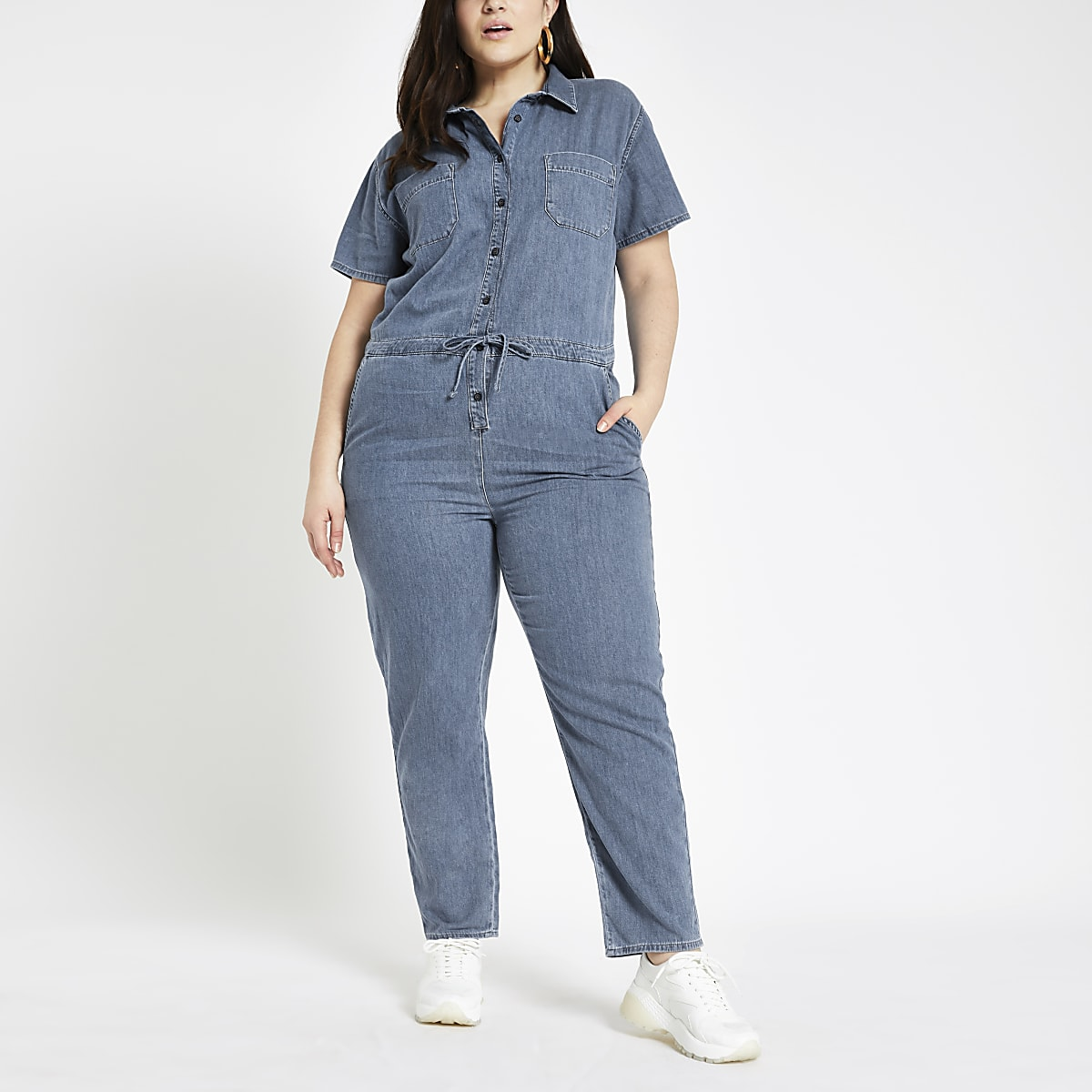 Plus blue utility denim jumpsuit