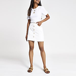 Petite white button front denim mini skirt