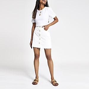 Petite – Mini-jupe en denim blanche boutonnée sur le devant