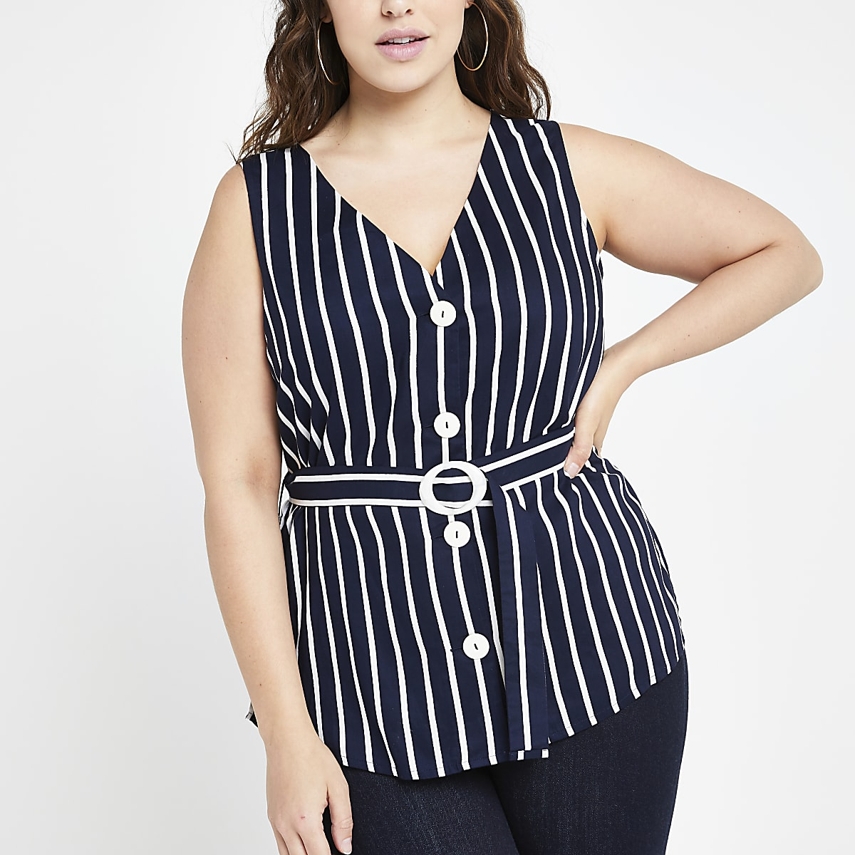 Plus navy stripe belted top