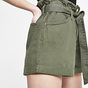 Petite khaki paperbag denim shorts