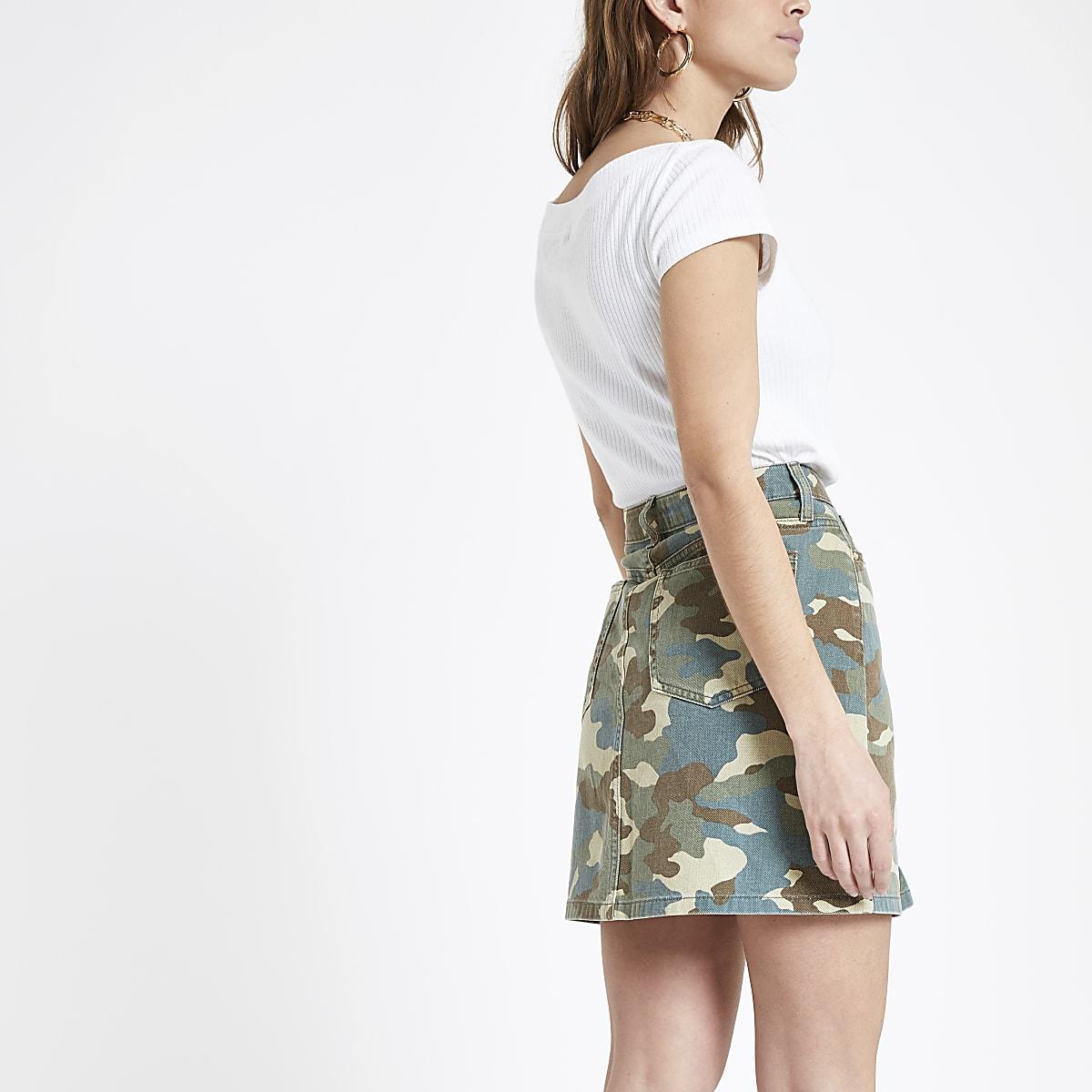 92b943a981eb Petite green camo print denim mini skirt - Mini Skirts - Skirts - women