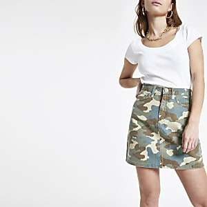 Petite green camo print denim mini skirt