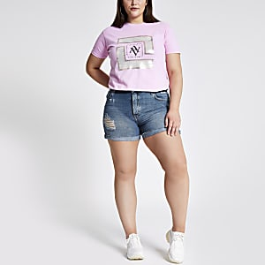 Plus mid blue denim boyfriend shorts