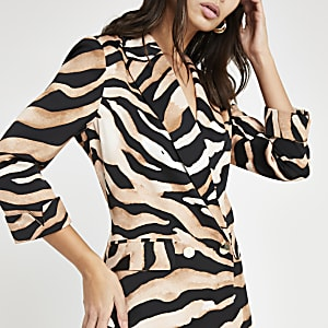 Brown zebra print long sleeve soft blazer