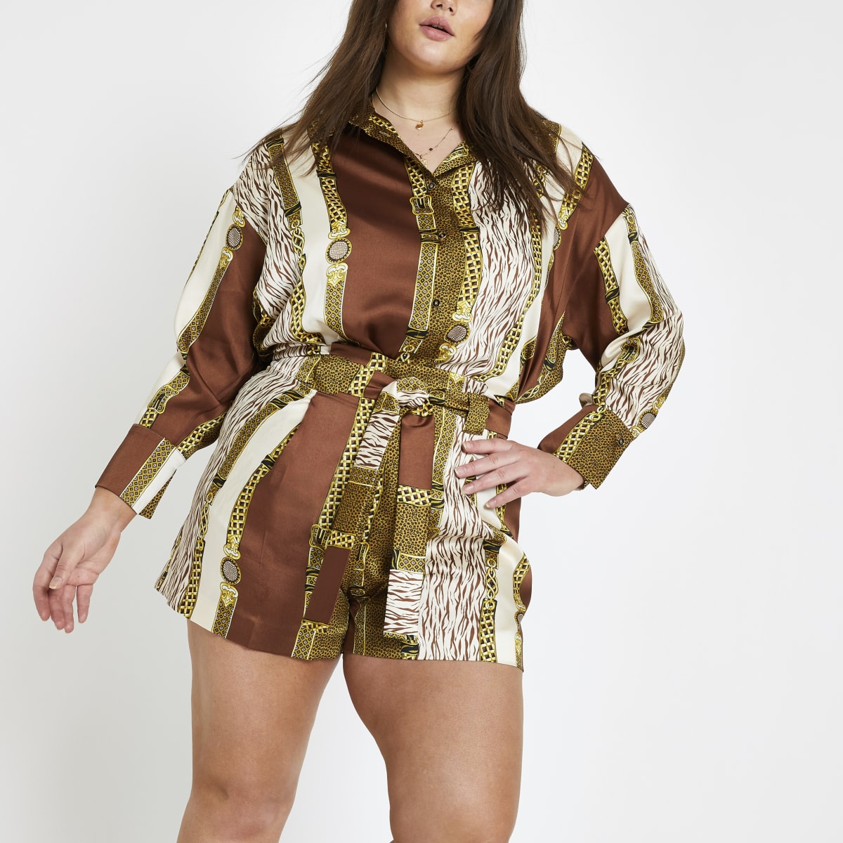 Plus brown mixed print shorts