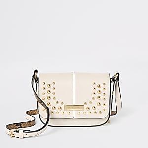 Cream stud embellished cross body bag