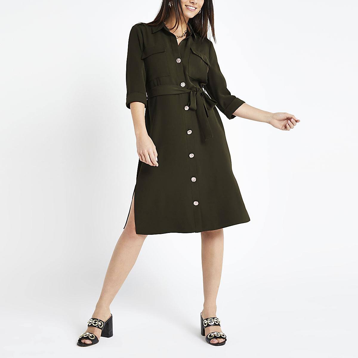 Petite khaki utility shirt dress
