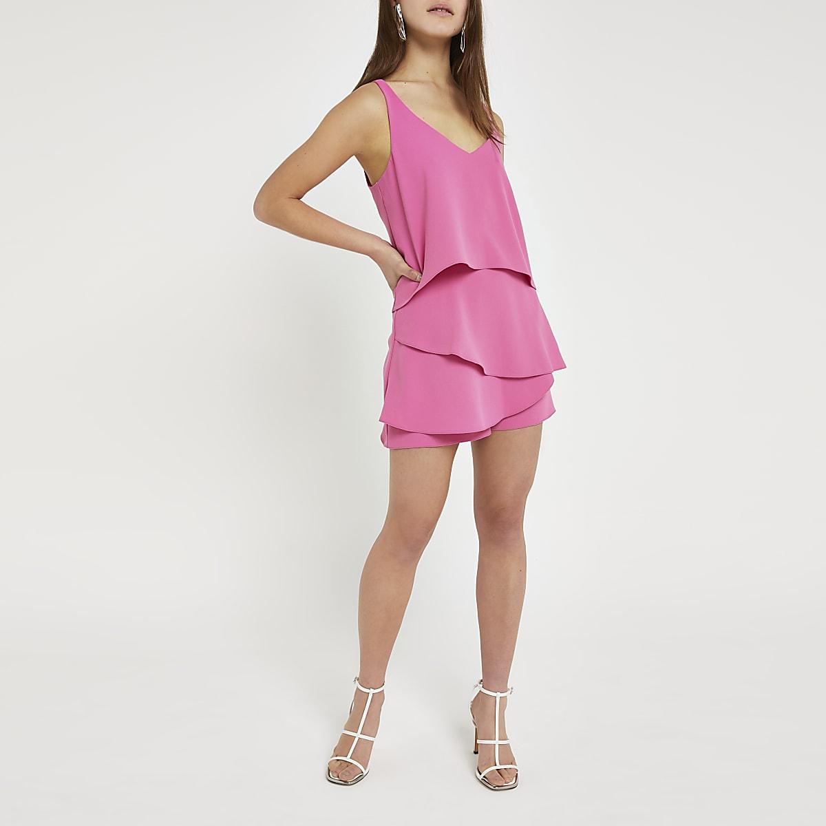 Petite pink layered frill playsuit