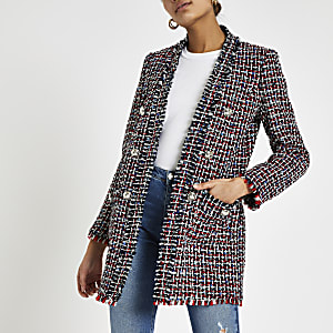 Red check boucle long line blazer