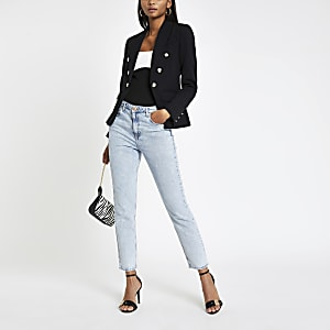 Black button front blazer