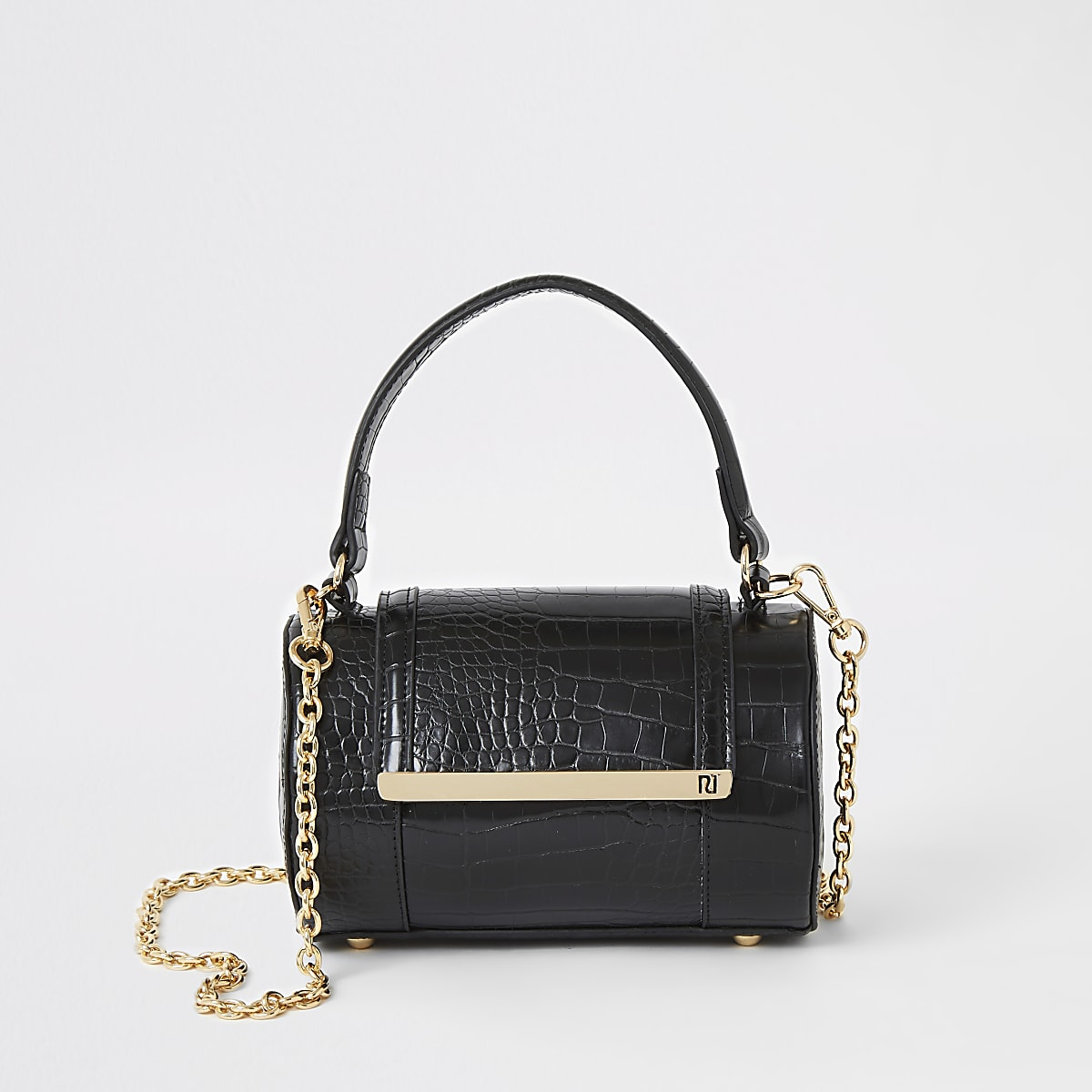 Black croc barrel cross body bag