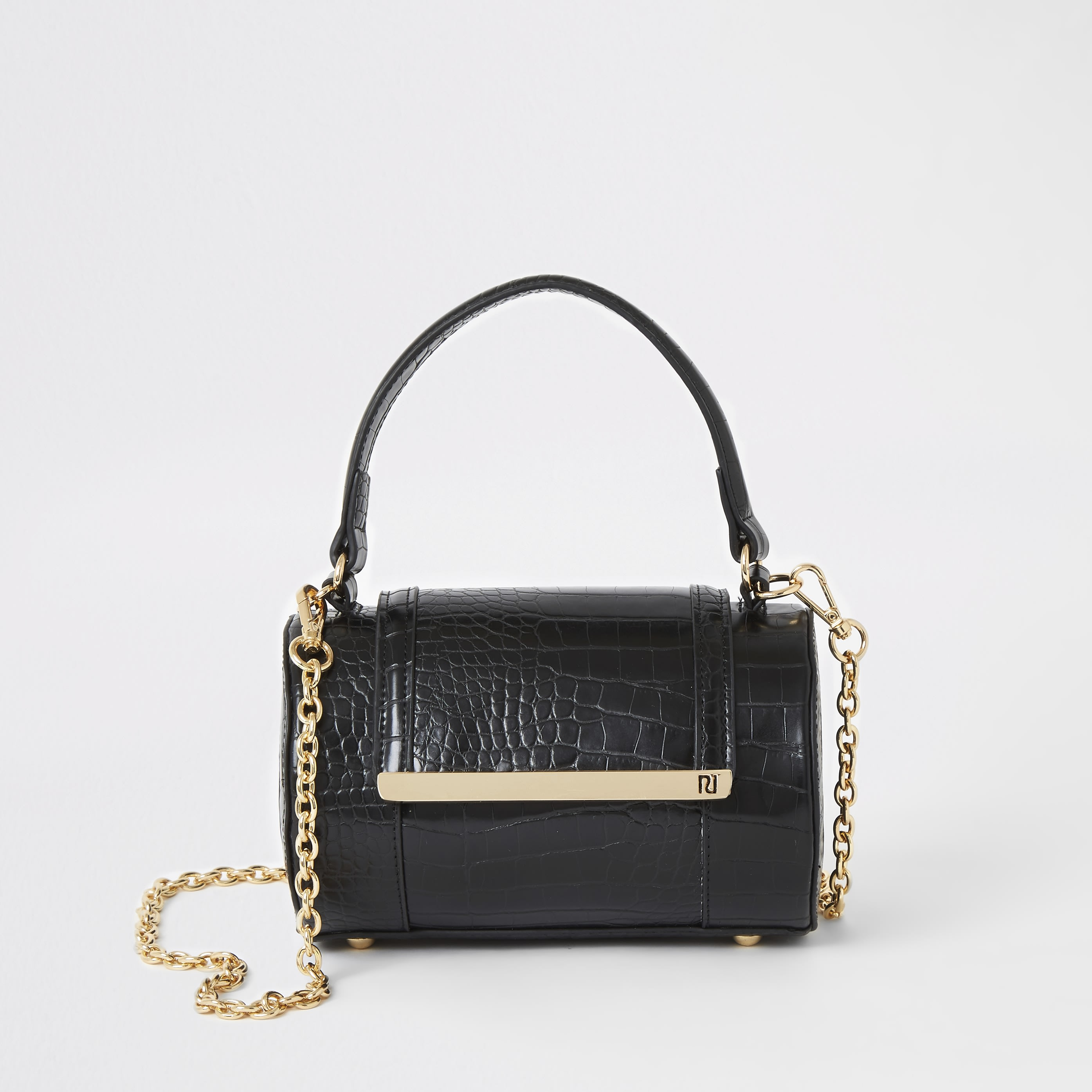 RIVER ISLAND | Womens Black Croc Barrel Cross Body Bag | Goxip