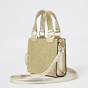 Gold heatseal grab handle cross body bag