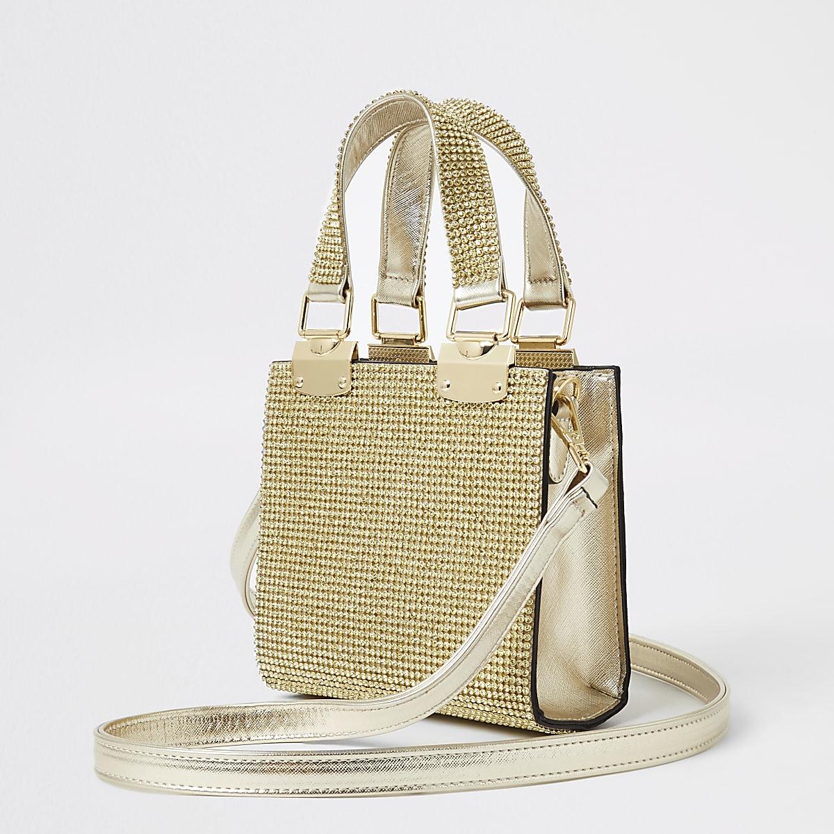 Gold heatseal grab handle cross body bag