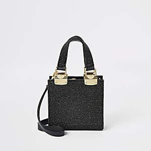 Black rhinestone mini cross body tote bag