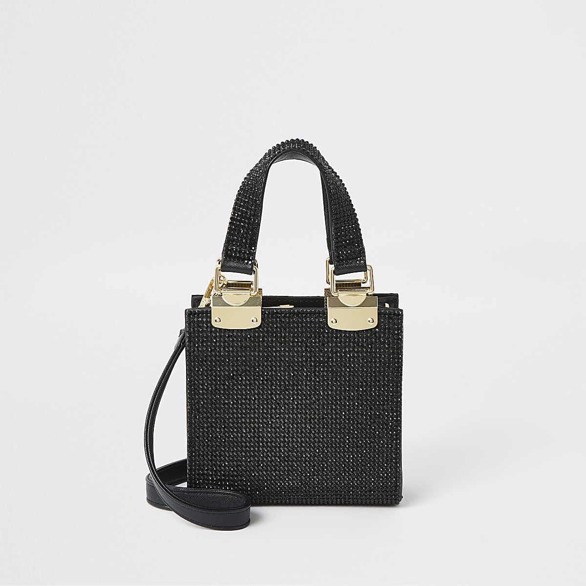 Black diamante mini cross body tote bag