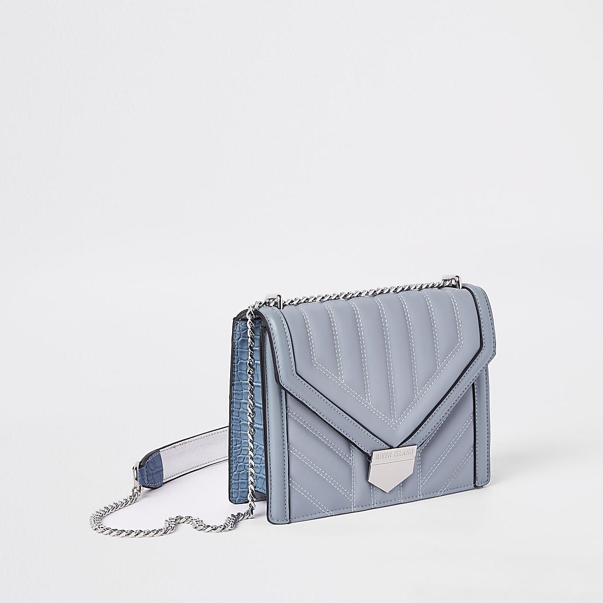 Blauwe gewatteerde crossbodytas