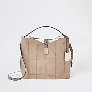 Beige bucket slouch bag