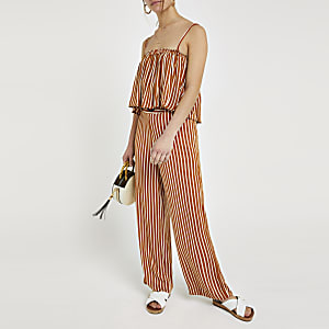 Petite – Pantalon large rayé rouille