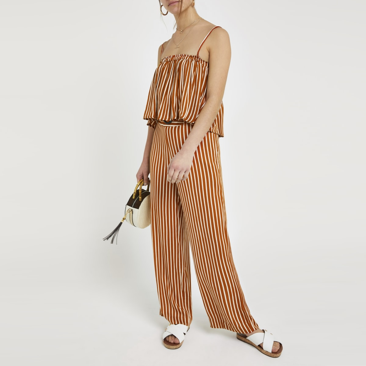 Petite rust stripe wide leg trousers