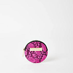 Neon pink snake print circle coin pouch purse