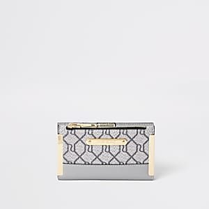 Grey RI monogram mini fold out purse