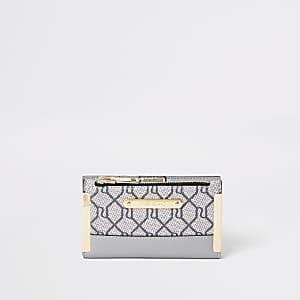 Mini porte-monnaie à logo RI gris avec rabat