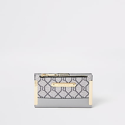 Grey RI monogram mini fold out purse