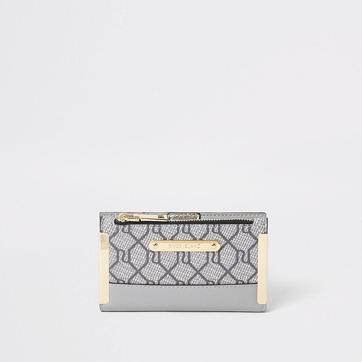 Grijze kleine uitvouwbare portemonnee met RI-monogram