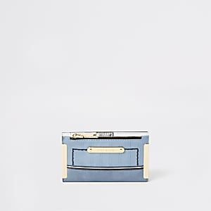 Mini porte-monnaie bleu clair à rabat