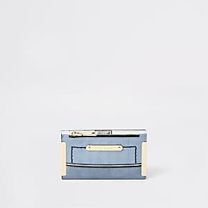 Lichtblauwe uitvouwbare kleine portemonnee