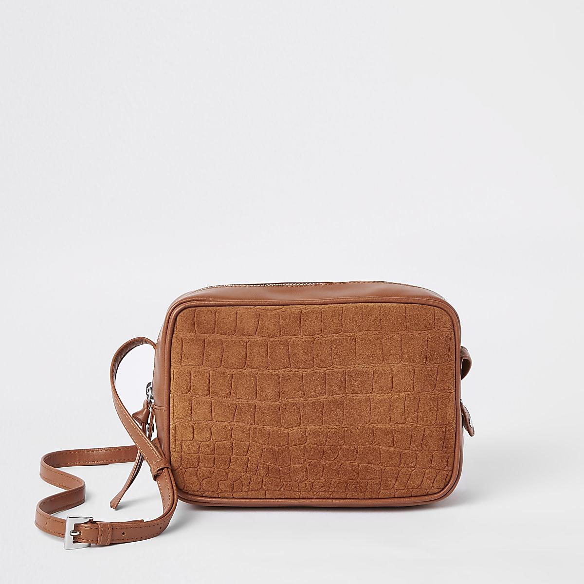 Beige croc leather cross body bag