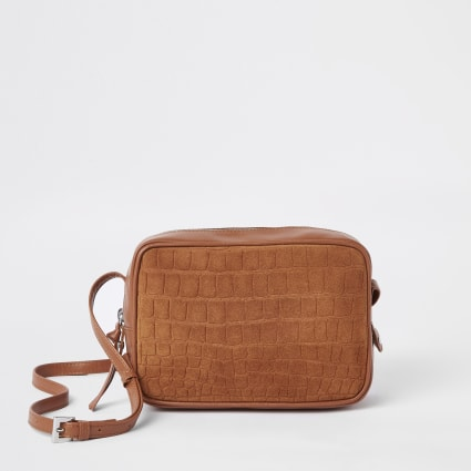 Beige croc leather cross body bag