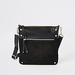 Black leather studded messenger bag