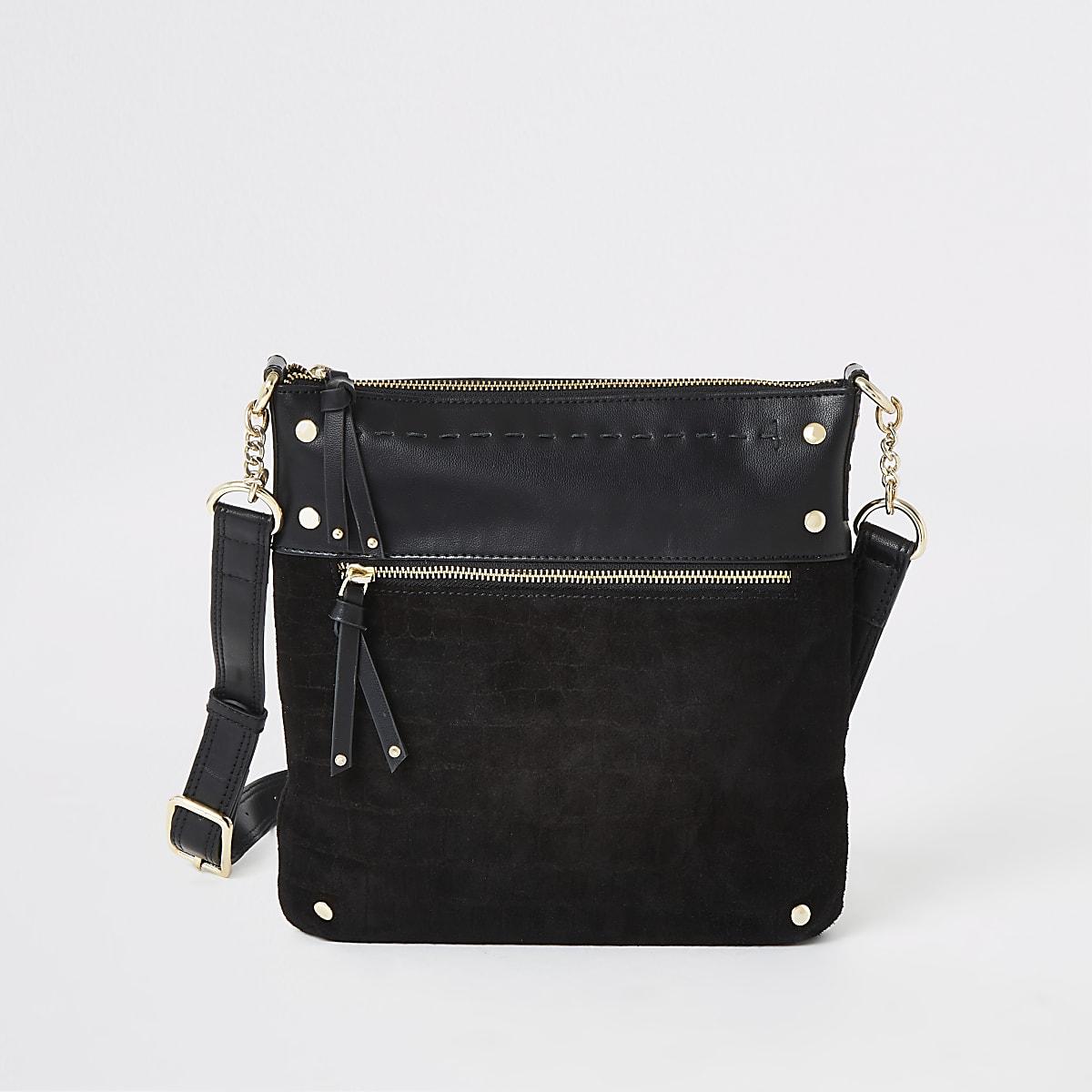 Black leather studded messenger bag