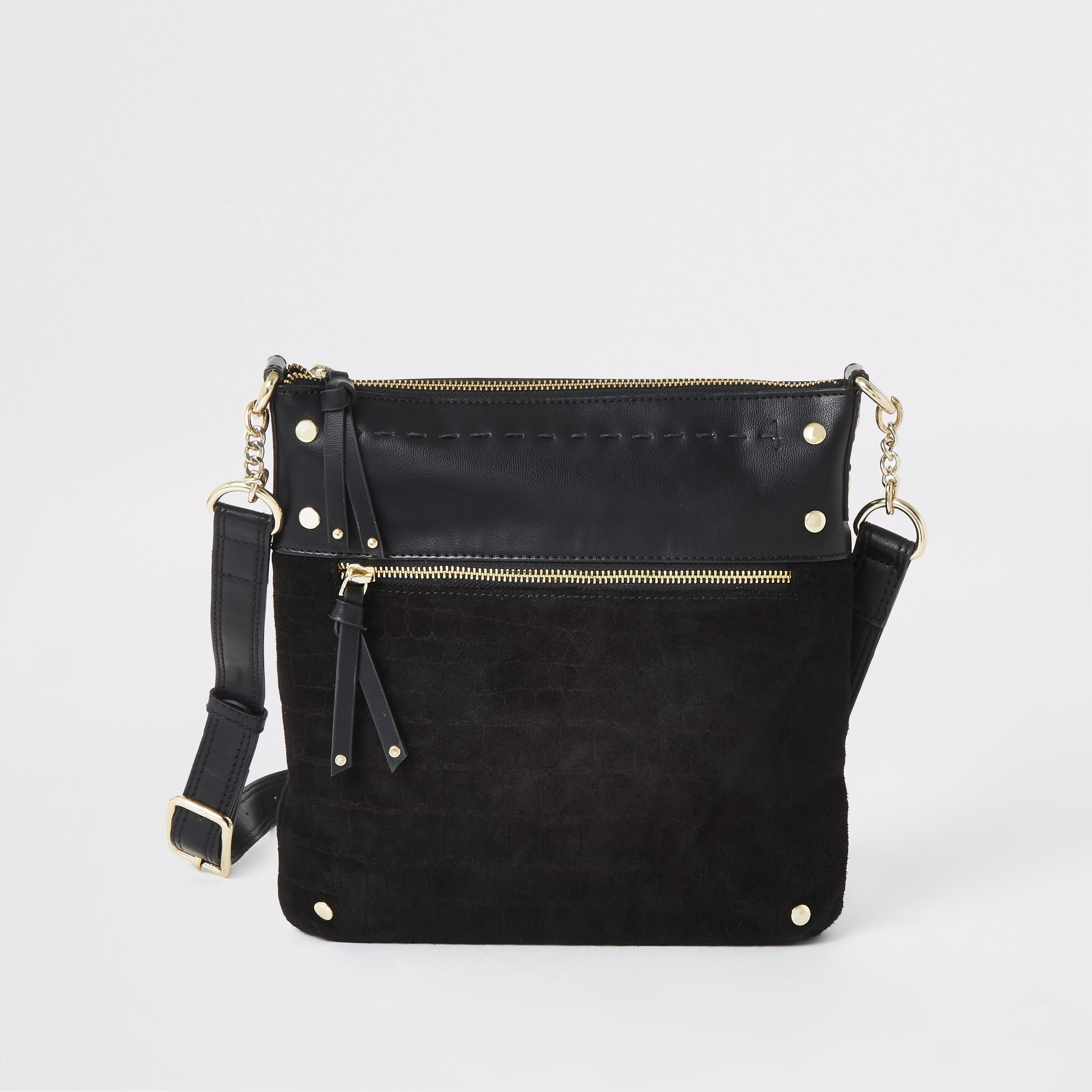 RIVER ISLAND | Womens Black Leather Studded Messenger Bag | Goxip